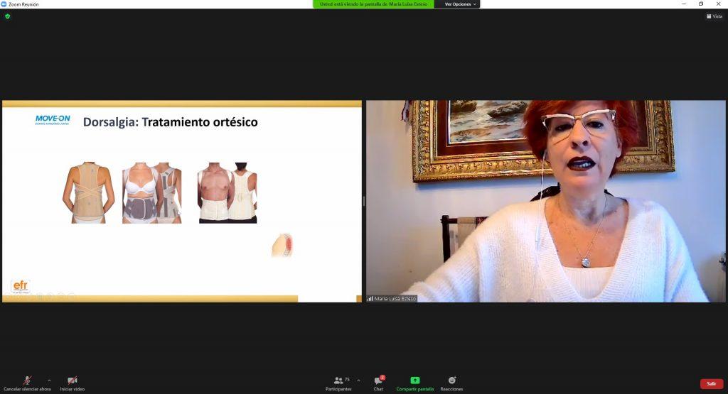 Maria Luisa Esteso, responsable de Formació i Desenvolupament del Producte del Canal Ortopèdia i Farmàcia de Prim, en un moment de la formació desenvolupada en format webinar.