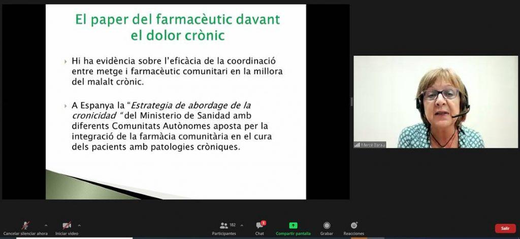 Mercè Barau, farmacèutica comunitària i coordinadora de les farmàcies de Gràcia, durant la seva presentació.