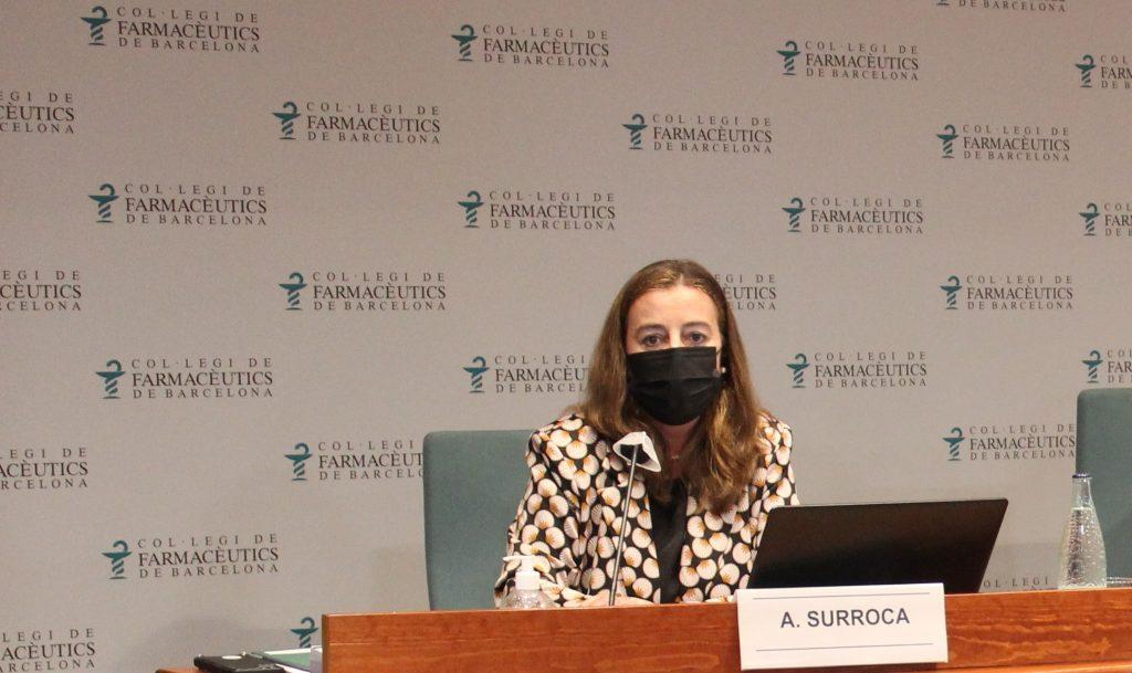 Aina Surroca, secretària del COFB, durant la seva presentació.