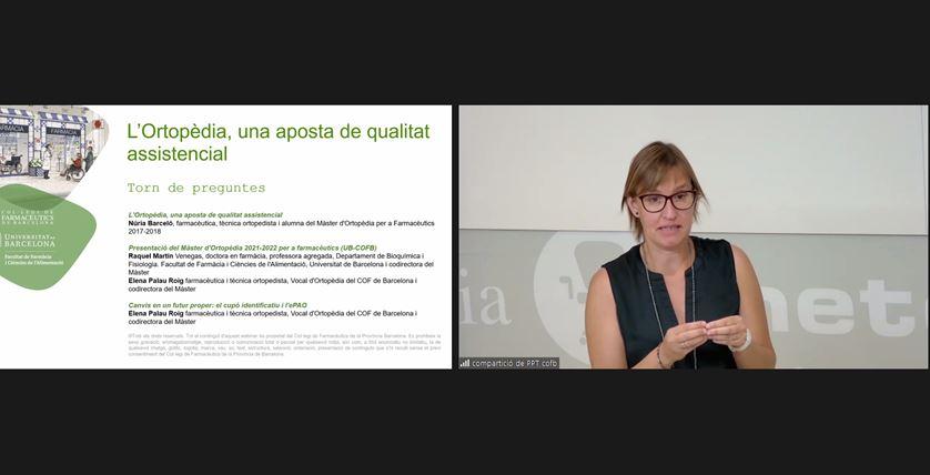 Un moment de la intervenció de Raquel Martín, professora de la Facultat de Farmàcia de la UB i codirectora del Màster.