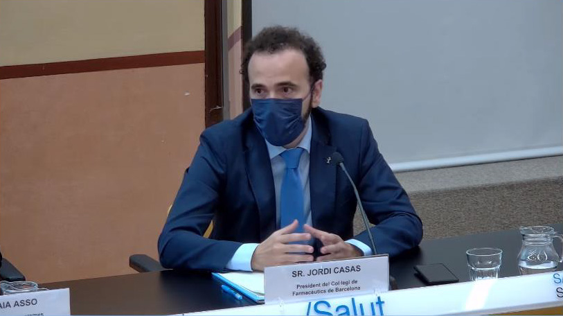 Jordi Casas, president del COFB i del CCFC, durant un moment de la roda de premsa.