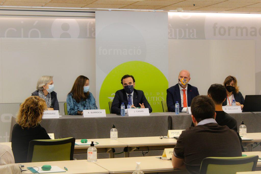 Un moment de la inauguració de la XVII edició del MGOF. D'esquerra a dreta: Cristina Rodríguez, Aina Surroca, Jordi Casas, Juan Carlos Serra i Mónica Gallach.